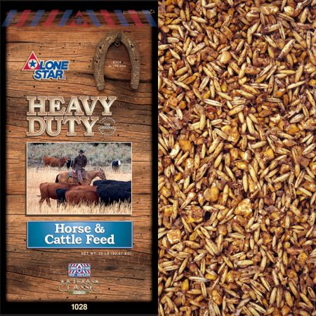 Horse and cattle feed. Brown and blue feed bag. Lone Star 1028