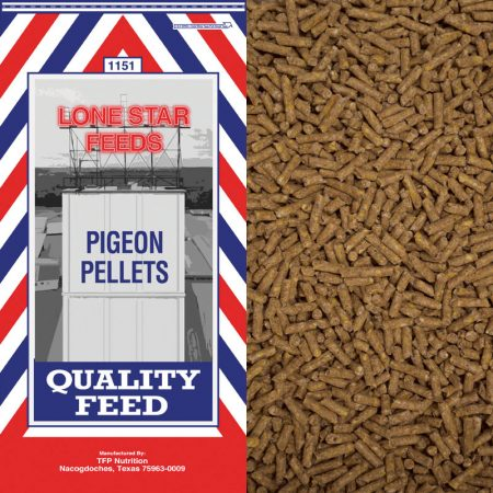 Red, white and blue feed bag. Pelleted feed for Pigeons.