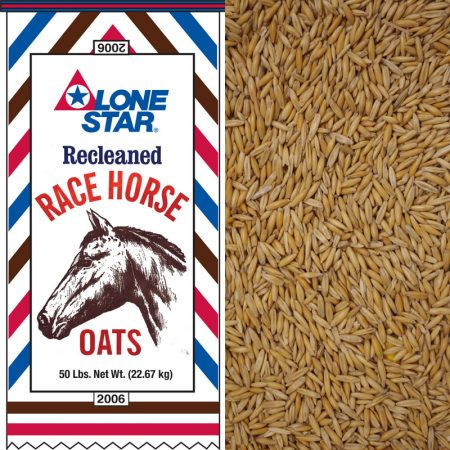 Red white and blue equine feed bag. Lone Star Recleaned Whole Race Horse Oats 2006