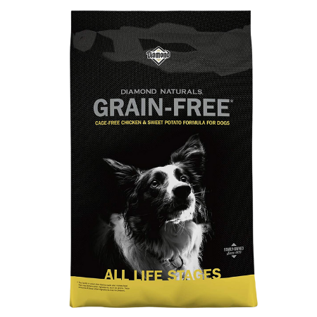 Black and gold dog food bag. Collie Dog. Grain free dog food. Cage Free Chicken. For canine digestive support.