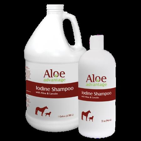 Aloe Advantage Iodine Shampoo. Gallon and 32-oz size pictured.