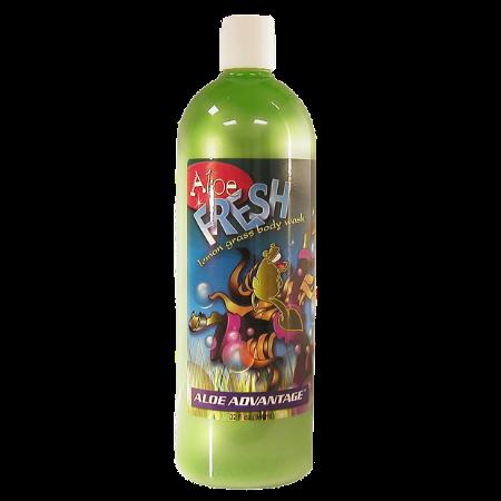 Aloe Fresh Lemon Grass Body Wash. 32-oz green bottle.