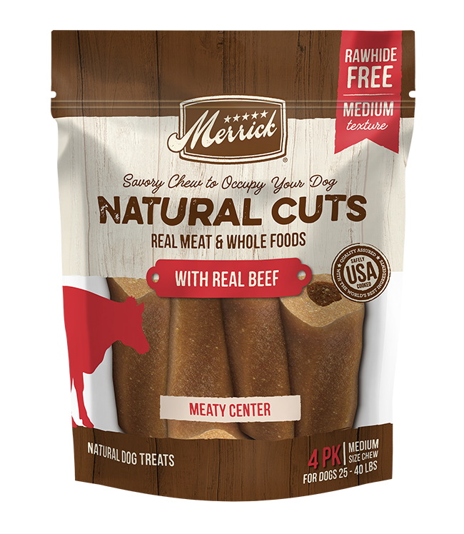Merrick Natural Cuts With Real Beef - Medium. Brown dog treat pouch.