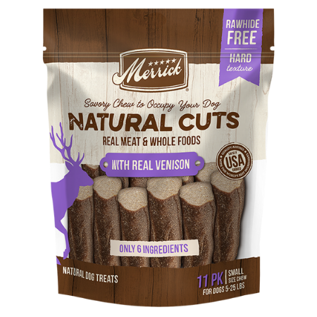 Merrick Natural Cuts With Real Venison - Small. Brown and purple dog treat pouch.